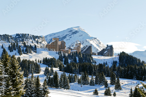 Fotografia, Obraz  view of Avoriaz mountain town in Alps