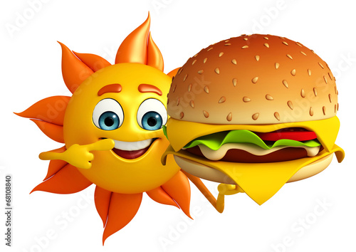 Photo  Sun Character  with burger