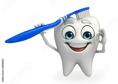 Fotografie, Obraz  Teeth character with tooth brush