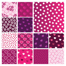 Set Of Vector Heart And Floral Patterns