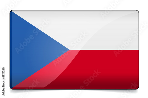 Czech republic flag button with reflection and shadow. Isolated Poster