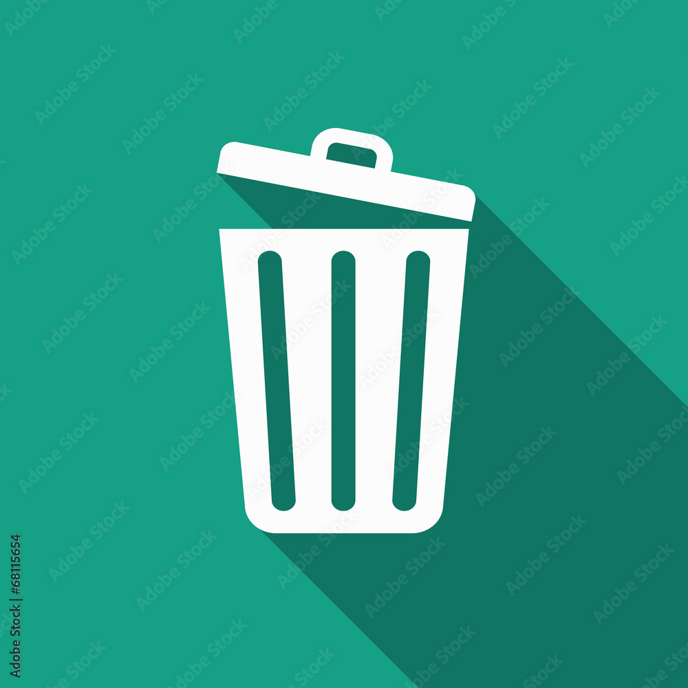 Fototapeta trash icon with long shadow