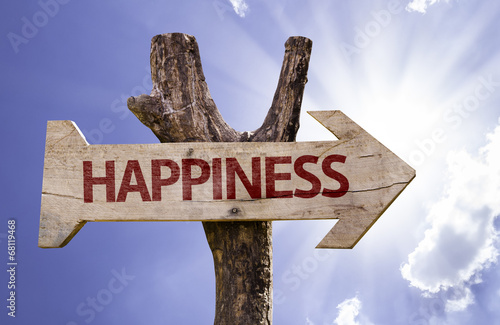 Happiness wooden sign on a beautiful day Wallpaper Mural