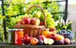 Fresh ripe organic fruits in the garden. Balanced diet