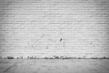 Background Interior: Brick Wall And Concrete Floor