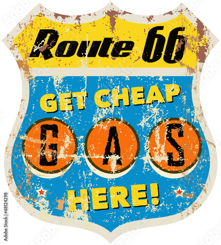 retro route 66 gas station sign, vector eps 10