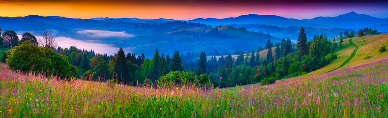 Panel Szklany Romantyczny Foggy summer panorama of the Carpathian mountains.