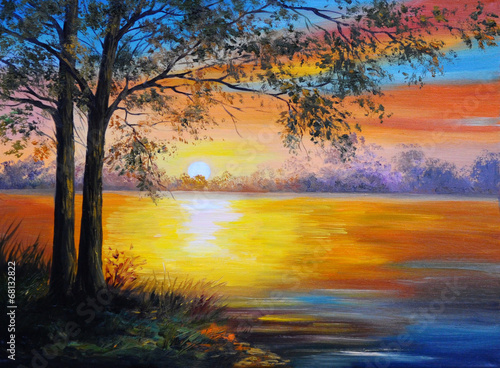 Fotobehang Baksteen oil painting landscape - tree near the lake