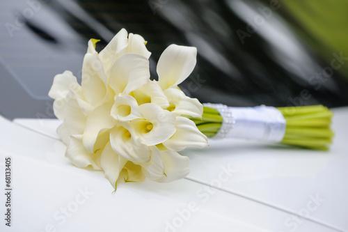 Fotografie, Obraz  bridal bouquet of white calla