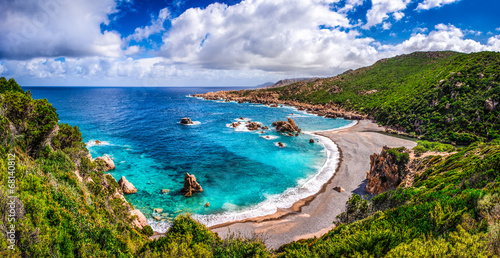 Beautiful ocean coastline in Costa Paradiso, Sardinia
