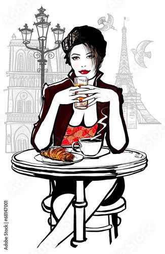 paryz-kobieta-na-sniadaniu-ilustracja