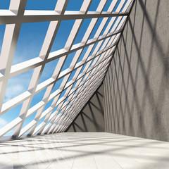 Fototapeta Architectural design of modern concrete hall