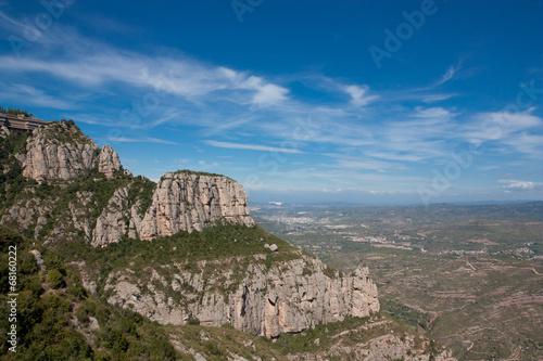 Spoed Foto op Canvas Cappuccino Panorama der Montserrat Gebierge