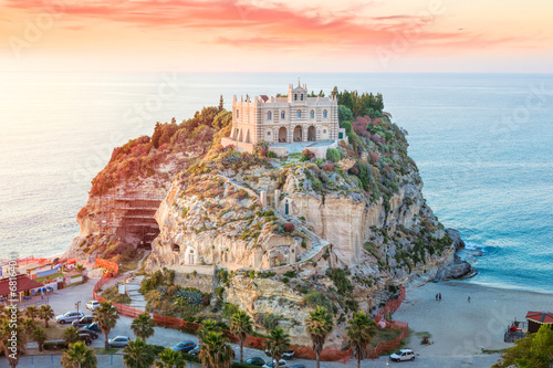 Santa Maria dell'Isola at sunset - Tropea, Calabria, Italy Canvas Print