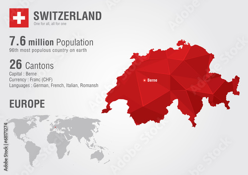 Switzerland world map with a pixel diamond texture. Canvas Print