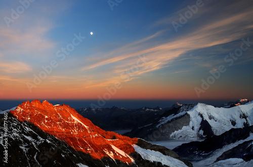 Photo Stands Night blue Mountain landscape, Berner Oberland, Switzerland - UNESCO Heritage