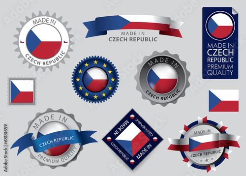 Photo  Made in Czech republic seal, Czech Flag (vector Art)