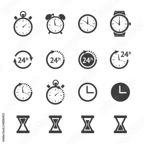Fotografía  Black clock icons set