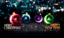 Merry Christmas Happy New Year Colorful Baubles Background