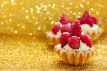 Beautiful Tiny Cupcakes With Wild Strawberries