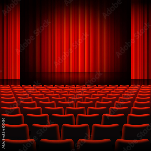 In de dag Theater Red Curtains Theater Stage
