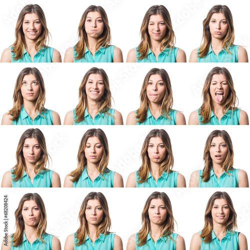 Cuadros en Lienzo  Beautiful Young Woman Multiple Portrait