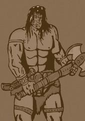 Fototapeta na wymiar Vintage barbarian with axe
