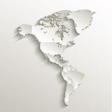 America Political Map Card Paper 3D Natural Vector Individual