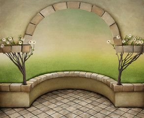 Texture vintage background with arch and trees