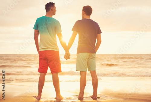 Fotografie, Obraz  Gay couple watching sunset