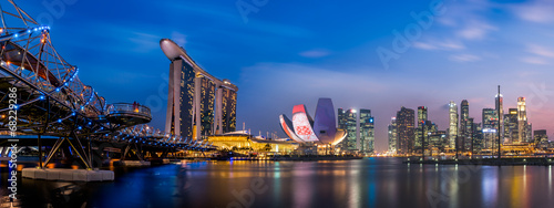 Tuinposter Singapore Singapore city at night