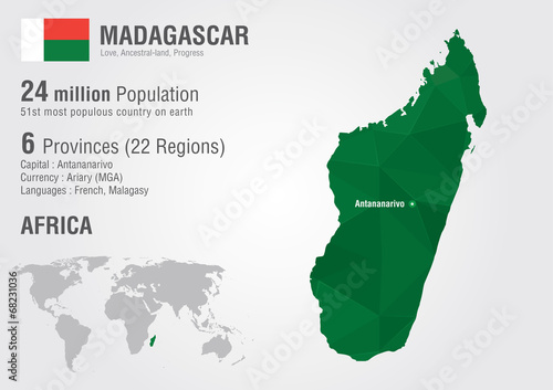 Madagascar world map with a pixel diamond texture. – kaufen ...