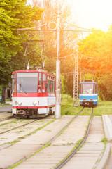 Fototapeta na wymiar Tram on Tramway in Tallinn