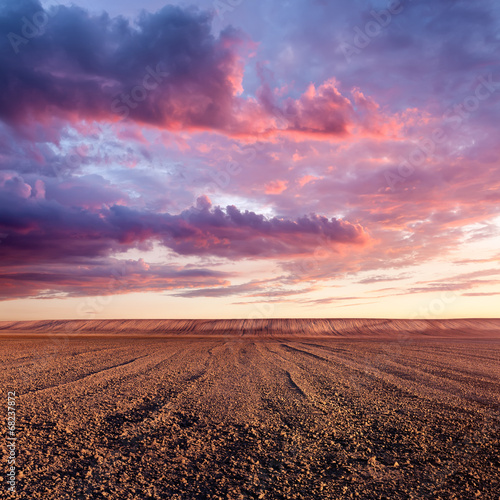Poster Diepbruine Cultivated land and cloud formations at sunset