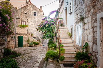 Fototapeta Schody Picturesque small town street view in Mali Ston, Dalmatia, Croat