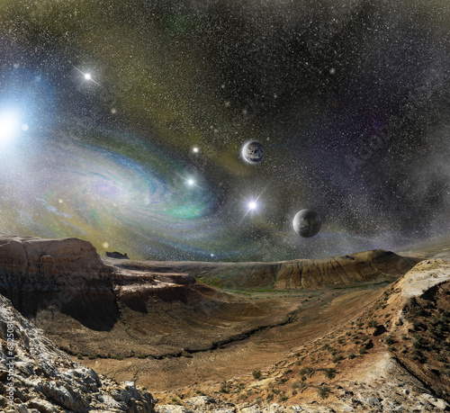 landscape mountains and cosmos space