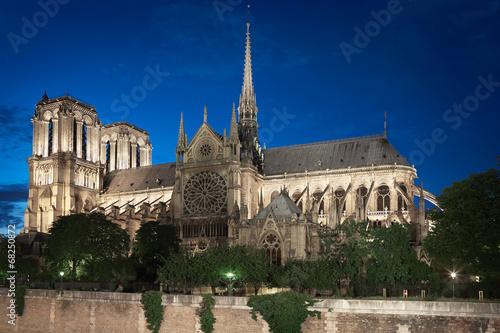 Fotografia  Notre Dame de Paris cathedral at night, side view