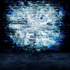 Fototapeta grunge brick wall with rays pattern