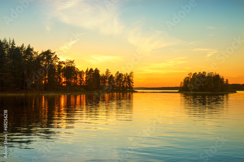 Garden Poster Scandinavia Sunset on the lake in Norway. White night.