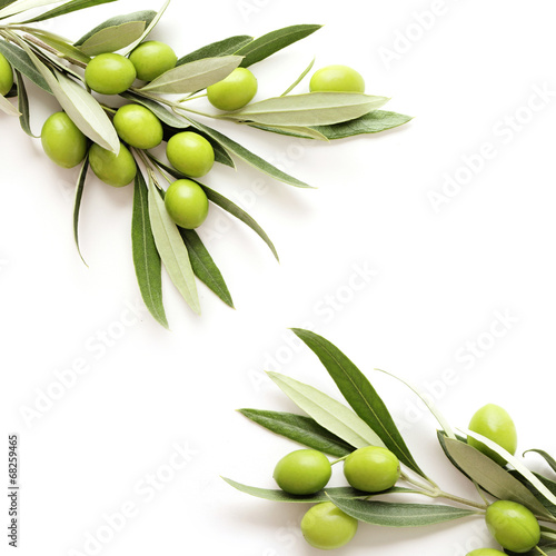 green olives on white background. copy space