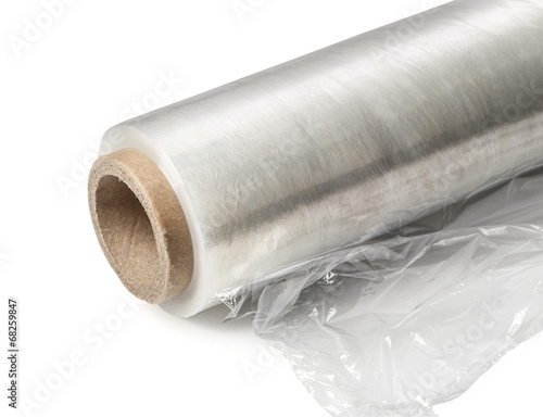 Fotografía  Roll of wrapping plastic stretch film.