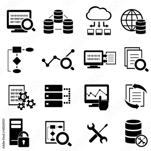 Fotografie, Obraz  Big data, cloud computing and technology icons
