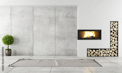 Photographie Modern interior with fireplace