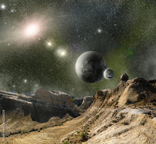 mountains and cosmos space Wallpaper Mural