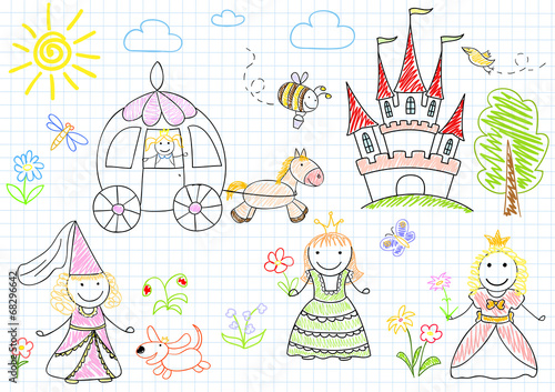 Foto auf AluDibond Boho-Stil Vector sketches with happy princesses