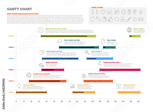 Gantt Project Production Timeline Graph Buy This Stock Vector And