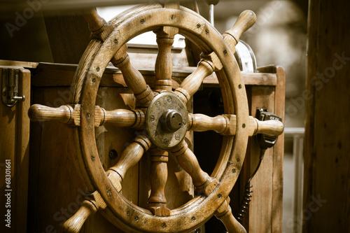 Canvas Prints Ship Yachting. Ship wooden steering wheel. Sailboat detail.