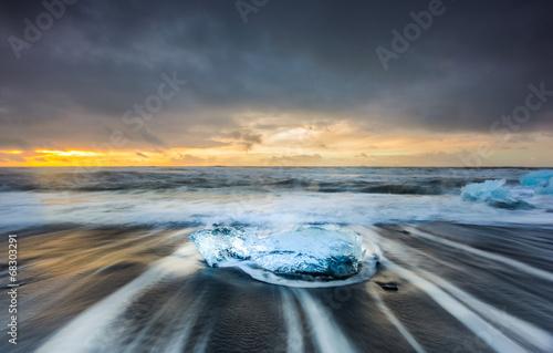 Printed kitchen splashbacks Glaciers jokulsarlon black sand beach at sun rise, Iceland