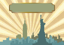 An Illustration Of New York City Skyline In Vintage Color