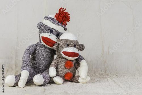 Foto op Canvas Aap Sock Monkey Layout